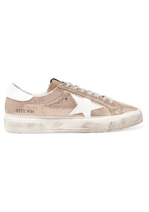 Golden Goose Deluxe Brand - May Distressed Metallic Suede And Leather Sneakers - IT41