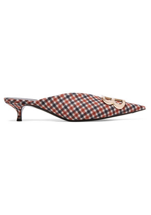 Balenciaga - Knife Logo-embellished Checked Wool Mules - Brown