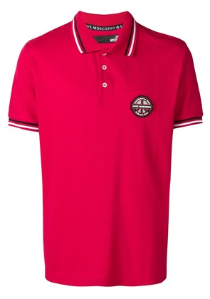 Love Moschino logo patch polo shirt - Red