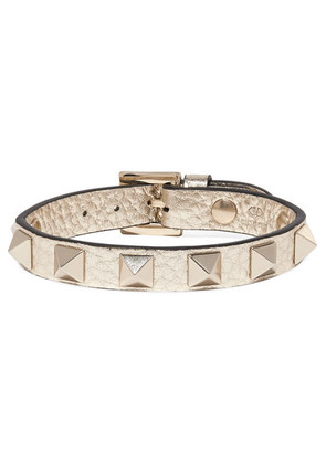 Valentino - Valentino Garavani The Rockstud Metallic Textured-leather Bracelet - Gold
