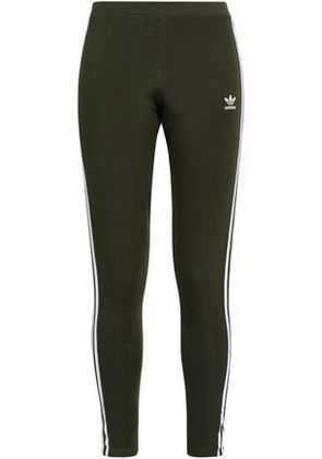Adidas Originals Woman Embroidered Striped Cotton-blend Jersey Leggings Black Size 40