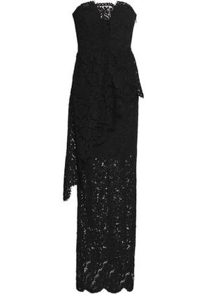 Milly Woman Strapless Layered Corded Lace Gown Black Size 12