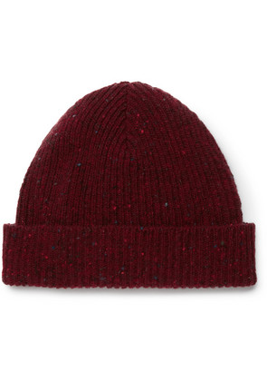 Mr P. - Ribbed Donegal Wool Beanie - Red