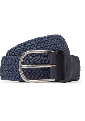Anderson's - 3.5cm Navy Leather-trimmed Woven Elastic Belt - Blue
