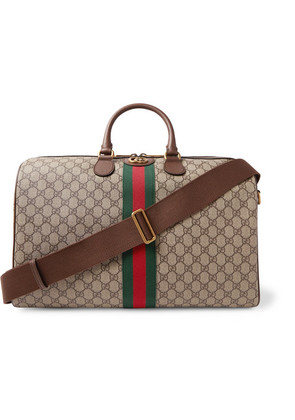 Gucci - Ophidia Leather-trimmed Monogrammed Coated-canvas Holdall - Beige