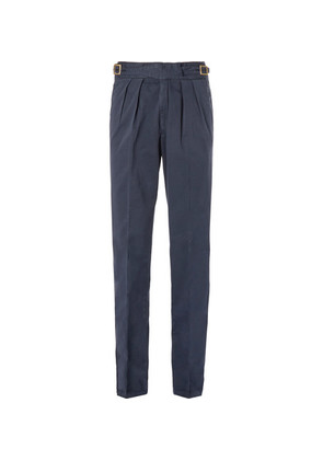 Rubinacci - Manny Pleated Stretch-cotton Twill Trousers - Navy