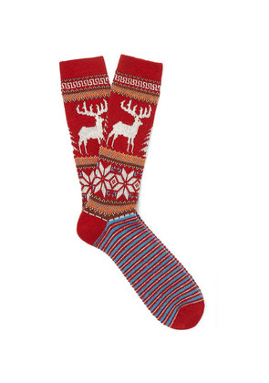 Anonymous Ism - Fair Isle Jacquard-knit Socks - Red