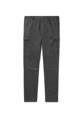 Brunello Cucinelli - Tapered Mélange Wool-flannel Cargo Trousers - Charcoal