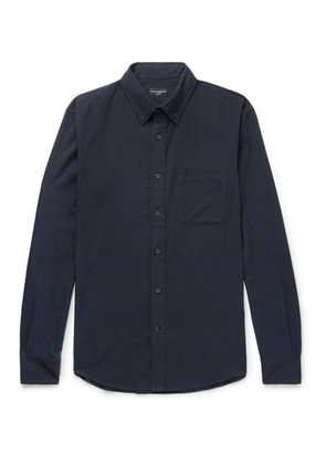 Club Monaco - Button-down Collar Herringbone Cotton-flannel Shirt - Blue