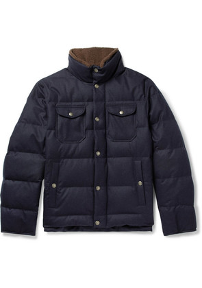 Brunello Cucinelli - Faux Shearling-trimmed Quilted Wool, Silk And Cashmere-blend Down Jacket - Navy