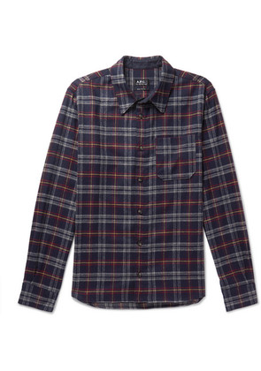 A.P.C. - Attic Checked Wool-blend Shirt - Navy