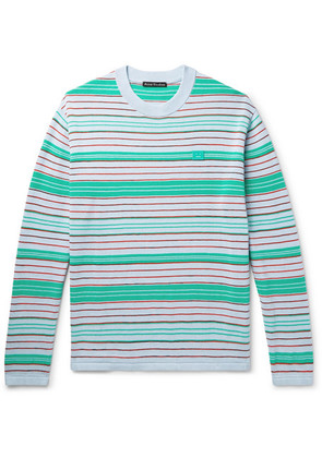 Acne Studios - Nimah Appliquéd Striped Cotton-blend Sweater - Green