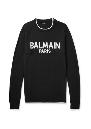 Balmain - Logo-intarsia Wool Sweater - Black