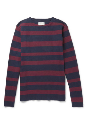 Oliver Spencer - Francisco Striped Cotton And Wool-blend Sweater - Navy