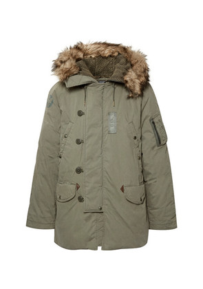 Polo Ralph Lauren - Faux Fur-trimmed Cotton-blend Hooded Down Parka - Army green