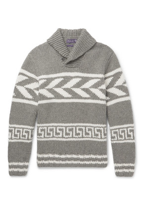 Ralph Lauren Purple Label - Shawl-collar Intarsia Cashmere Sweater - Gray
