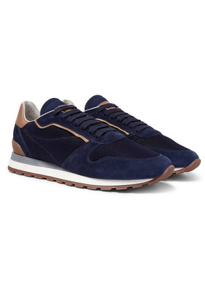 Brunello Cucinelli - Leather And Suede-trimmed Mesh Sneakers - Navy