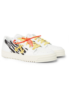 Off-White - 3.0 Polo Zebra-print Canvas, Leather And Suede Sneakers - White