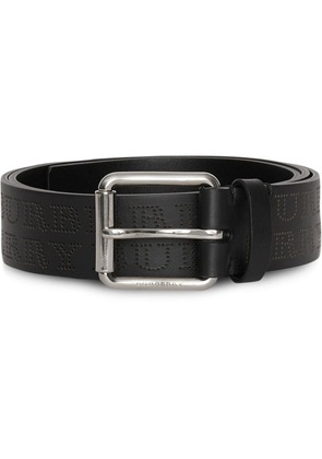 Burberry Perforated Logo Leather Belt - Black