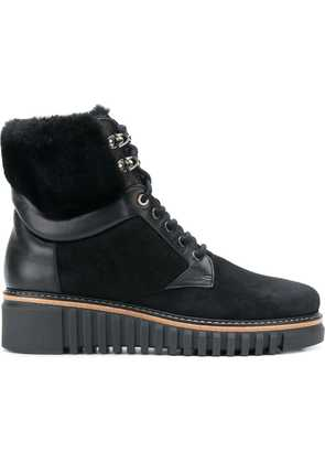 Loriblu fur and leather trim ankle boots - Black