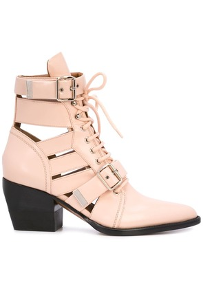 Chloé buckle straps boots - Pink