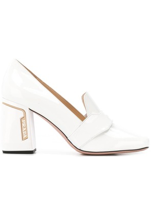 Prada block heel loafers - White