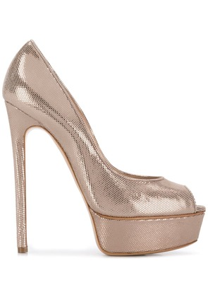 Casadei metallic platform pumps - Gold