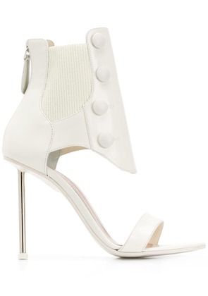 Alexander McQueen ribbed ankle sandals - White