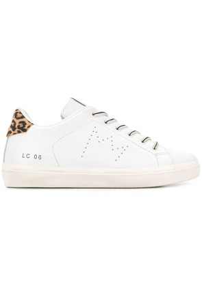 Leather Crown lace-up sneakers - White