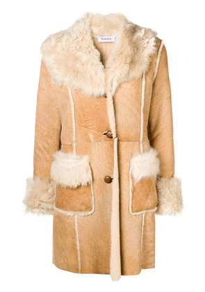 P.A.R.O.S.H. shearling fitted coat - Neutrals