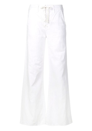 Mother lace-up wide leg jeans - White