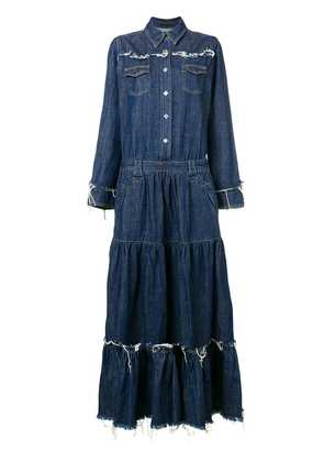 Alanui long frayed denim dress - Blue