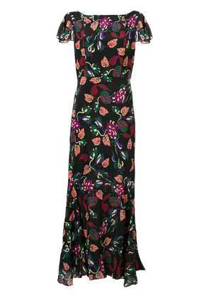 Saloni floral long ruffle dress - Black