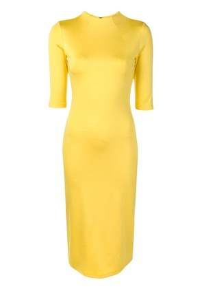 Alice+Olivia cropped sleeves fitted dress - Yellow