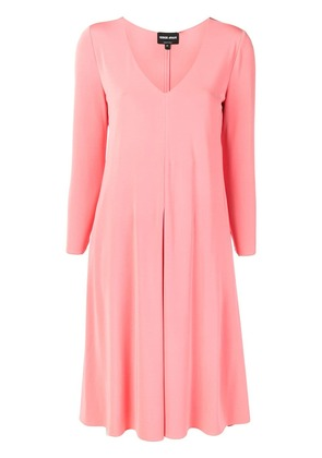 Giorgio Armani flared V-neck dress - Pink