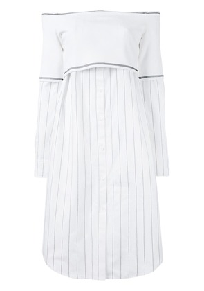 DKNY off shoulder button up dress - White