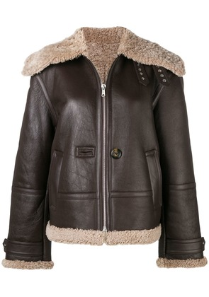 Helmut Lang shearling leather jacket - Brown