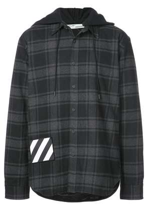 Off-White hooded checked flannel jacket - Black