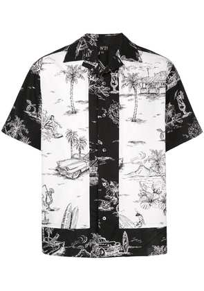 No21 contrast embroidered shirt - Black