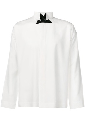 Pleats Please By Issey Miyake contrast collar shirt - White