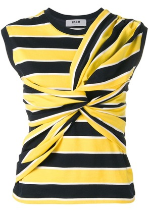 MSGM striped tied front vest - Yellow