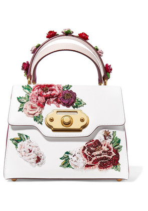 Dolce & Gabbana - Welcome Medium Appliquéd Smooth And Lizard-effect Leather Tote - White
