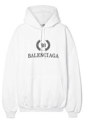 Balenciaga - Oversized Printed Cotton-blend Jersey Hoodie - White