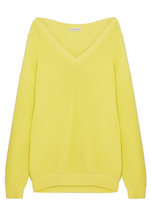 Balenciaga - Oversized Ribbed Cotton-blend Sweater - Yellow