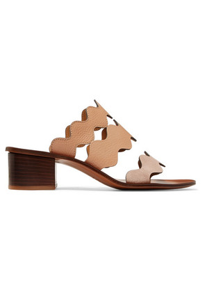 Chloé - Lauren Palmer Scalloped Textured-leather And Suede Mules - Pastel pink