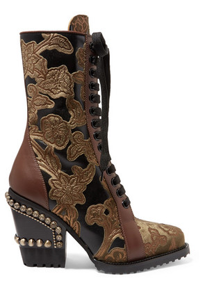 Chloé - Rylee Studded Brocade And Appliquéd Leather Ankle Boots - Brown