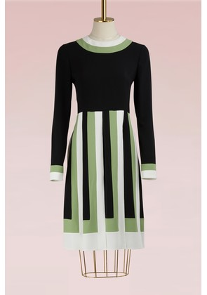 Colorblock Long-Sleeved Pleated Dress