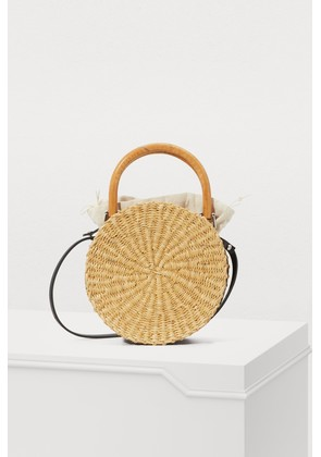 Round basket bag with pouch
