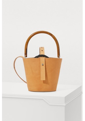 Leather bucket bag with pouch