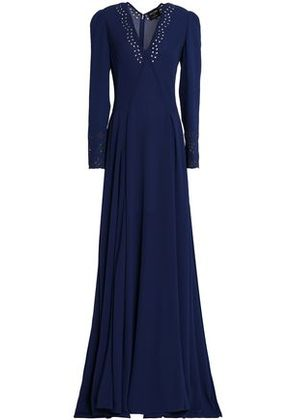 Zac Posen Woman Pleated Broderie Anglaise Crepe Gown Navy Size 12